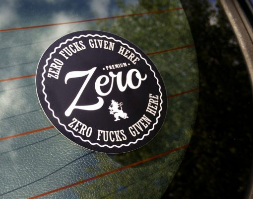 Zero Fucks Given Here sticker action shot